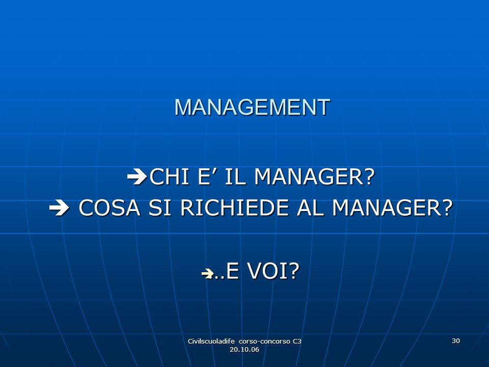 Civilscuoladife corso-concorso C3 20.10.06 30 MANAGEMENT  CHI E' IL MANAGER?  COSA SI RICHIEDE AL MANAGER?  …E VOI?