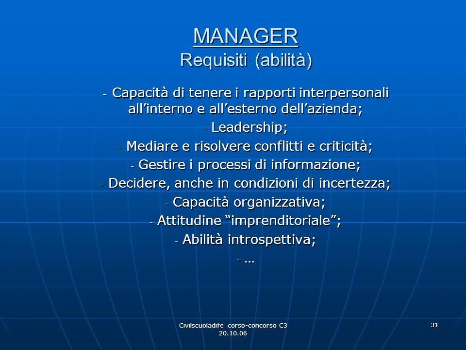 Civilscuoladife corso-concorso C3 20.10.06 31 MANAGER Requisiti (abilità) - Capacità di tenere i rapporti interpersonali all'interno e all'esterno del