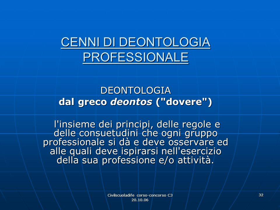 Civilscuoladife corso-concorso C3 20.10.06 32 CENNI DI DEONTOLOGIA PROFESSIONALE DEONTOLOGIA dal greco deontos (