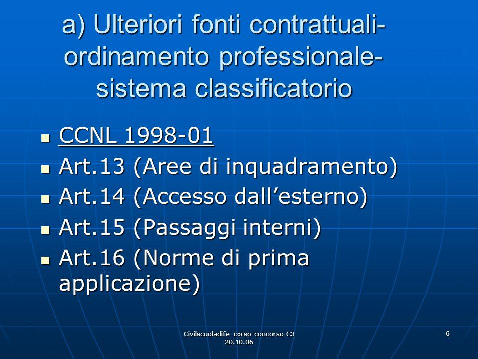Civilscuoladife corso-concorso C3 20.10.06 6 a) Ulteriori fonti contrattuali- ordinamento professionale- sistema classificatorio CCNL 1998-01 CCNL 199
