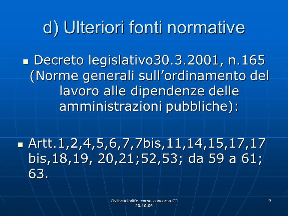 Civilscuoladife corso-concorso C3 20.10.06 9 d) Ulteriori fonti normative Decreto legislativo30.3.2001, n.165 (Norme generali sull'ordinamento del lav