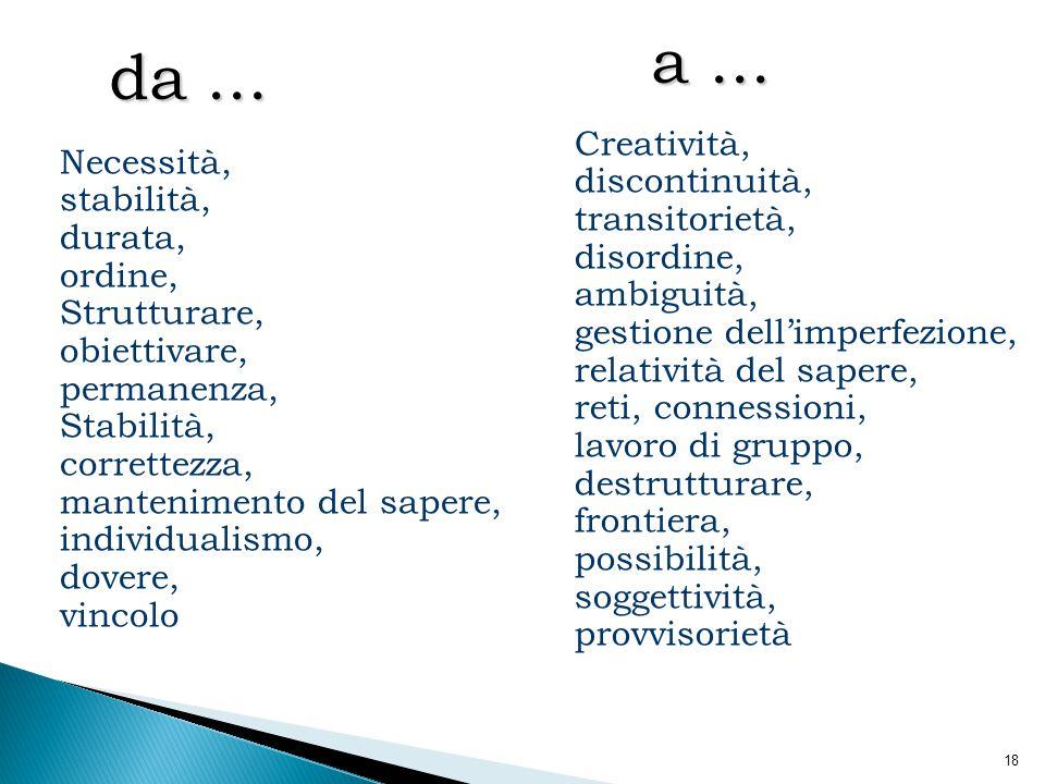 18 Necessità, stabilità, durata, ordine, Strutturare, obiettivare, permanenza, Stabilità, correttezza, mantenimento del sapere, individualismo, dovere