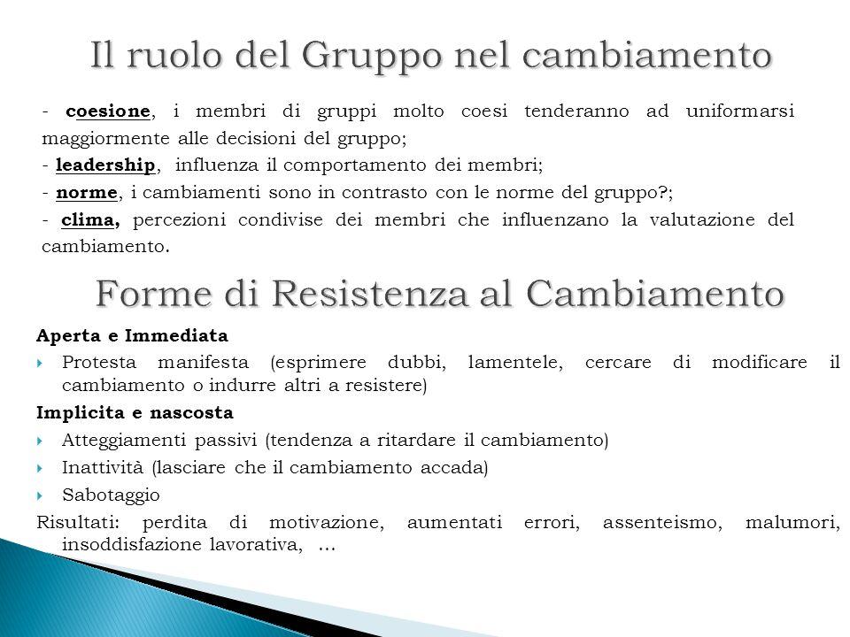 Il ruolo del Gruppo nel cambiamento Il ruolo del Gruppo nel cambiamento - coesione, i membri di gruppi molto coesi tenderanno ad uniformarsi maggiorme