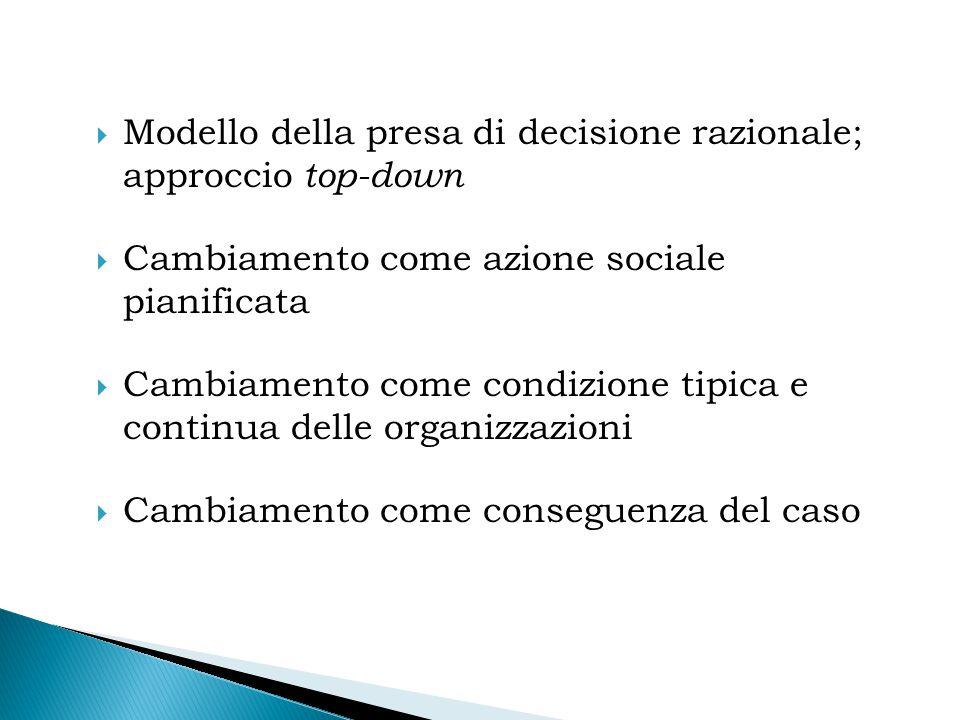  Modello della presa di decisione razionale; approccio top-down  Cambiamento come azione sociale pianificata  Cambiamento come condizione tipica e