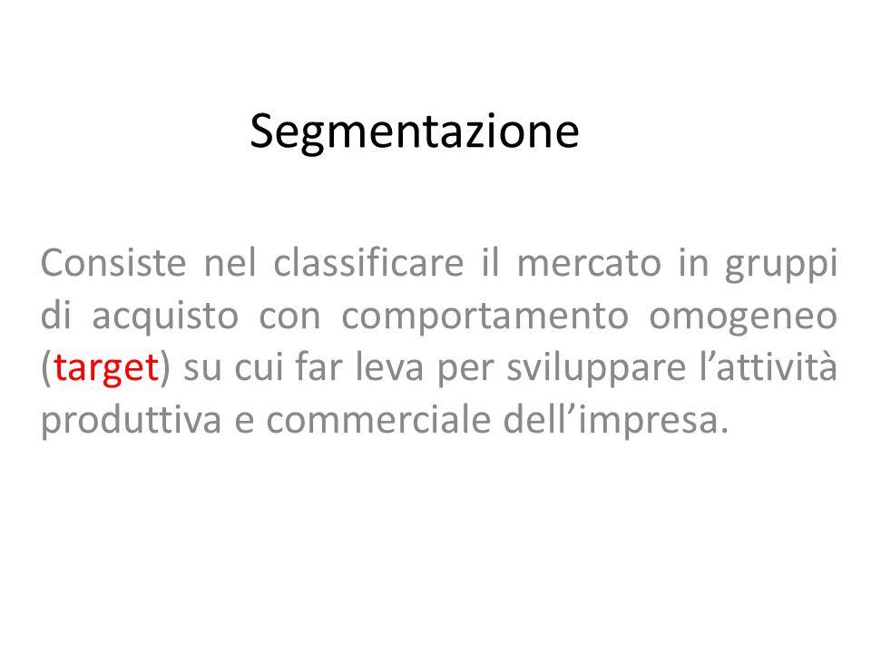Segmentazione Consiste nel classificare il mercato in gruppi di acquisto con comportamento omogeneo (target) su cui far leva per sviluppare l'attività