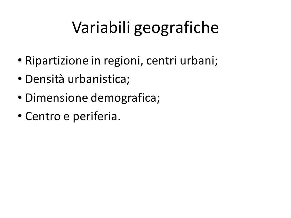Variabili geografiche Ripartizione in regioni, centri urbani; Densità urbanistica; Dimensione demografica; Centro e periferia.
