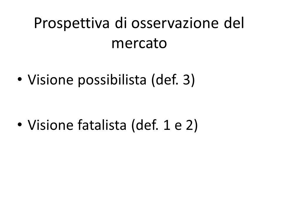 Prospettiva di osservazione del mercato Visione possibilista (def. 3) Visione fatalista (def. 1 e 2)