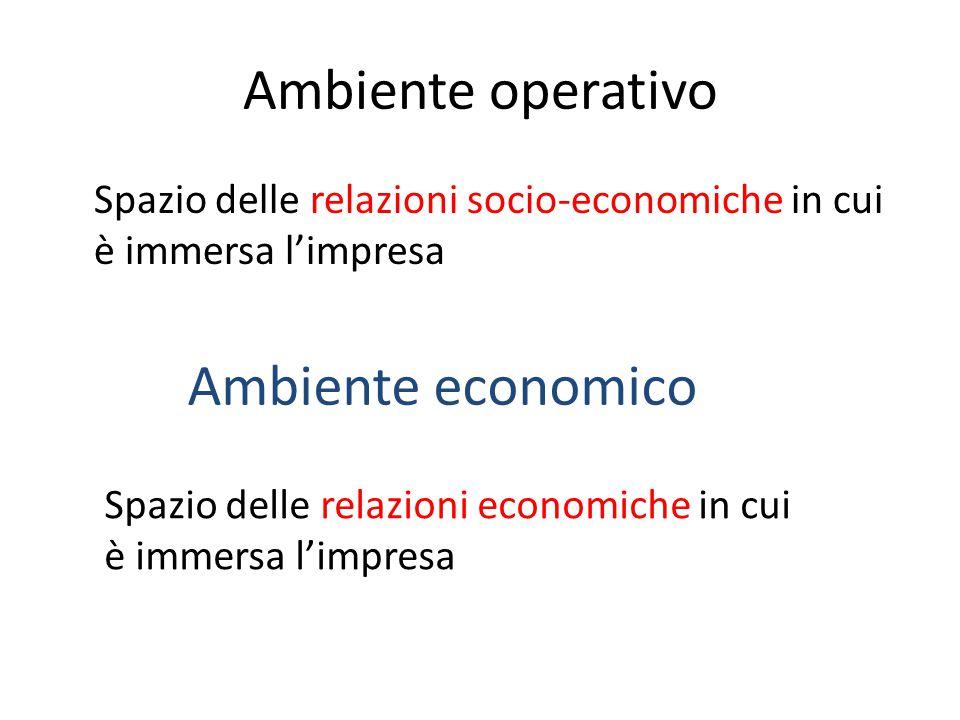 Ambiente operativo Spazio delle relazioni socio-economiche in cui è immersa l'impresa Ambiente economico Spazio delle relazioni economiche in cui è im