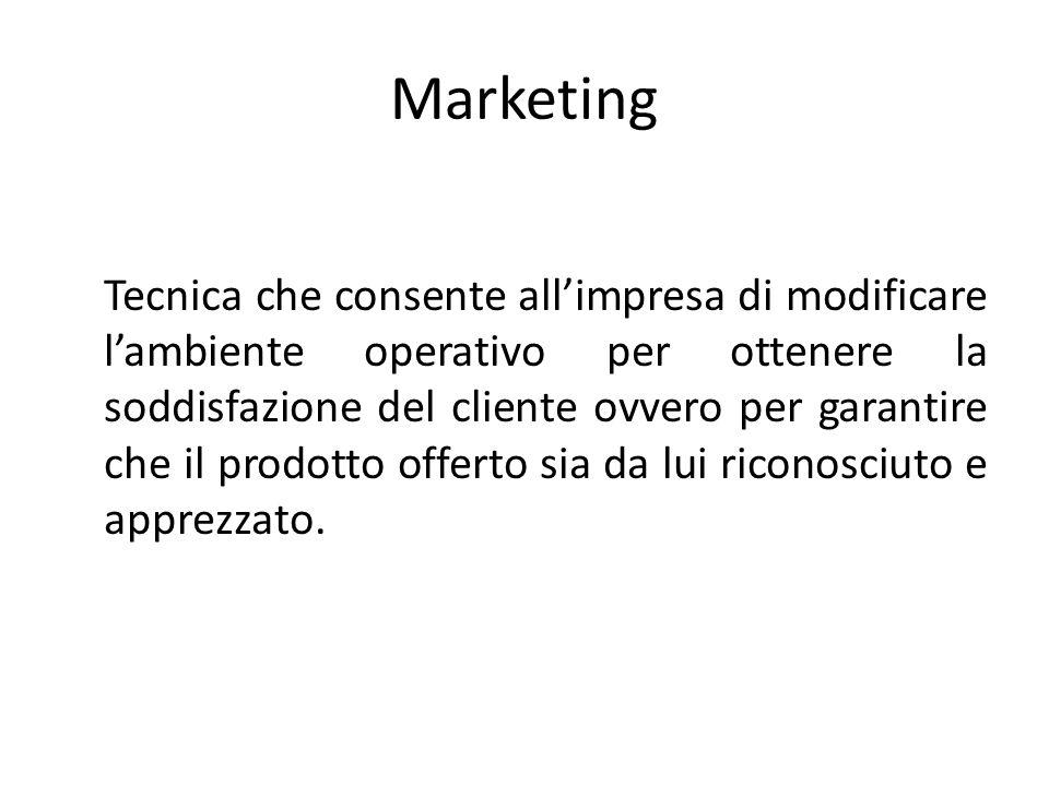 Marketing Tecnica che consente all'impresa di modificare l'ambiente operativo per ottenere la soddisfazione del cliente ovvero per garantire che il pr