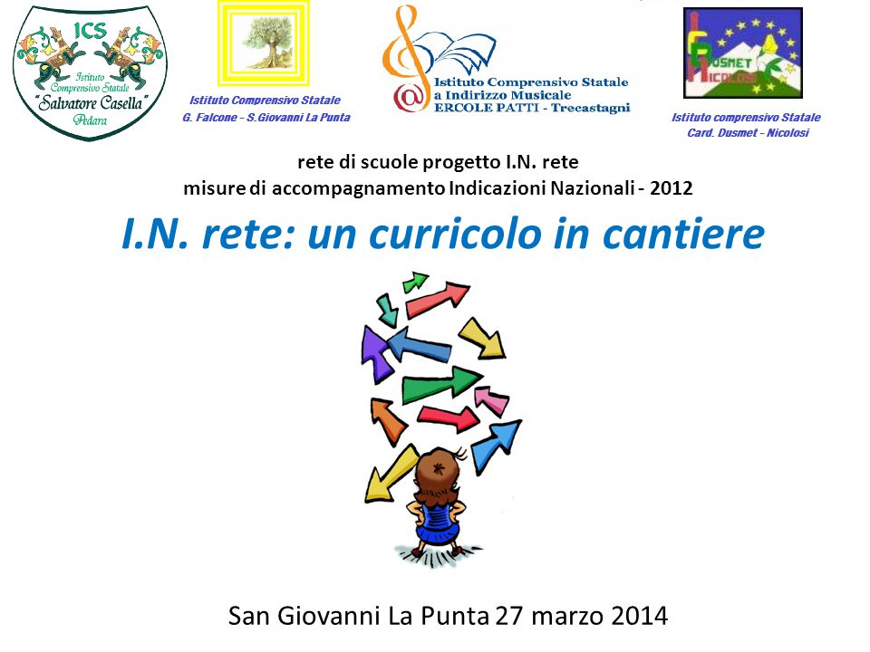I.N. rete: un curricolo in cantiere rete di scuole progetto I.N. rete misure di accompagnamento Indicazioni Nazionali - 2012 San Giovanni La Punta 27