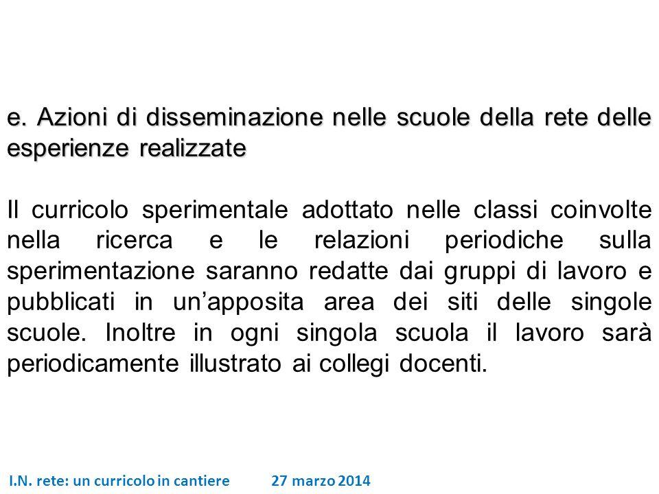 I.N. rete: un curricolo in cantiere 27 marzo 2014 e. Azioni di disseminazione nelle scuole della rete delle esperienze realizzate Il curricolo sperime