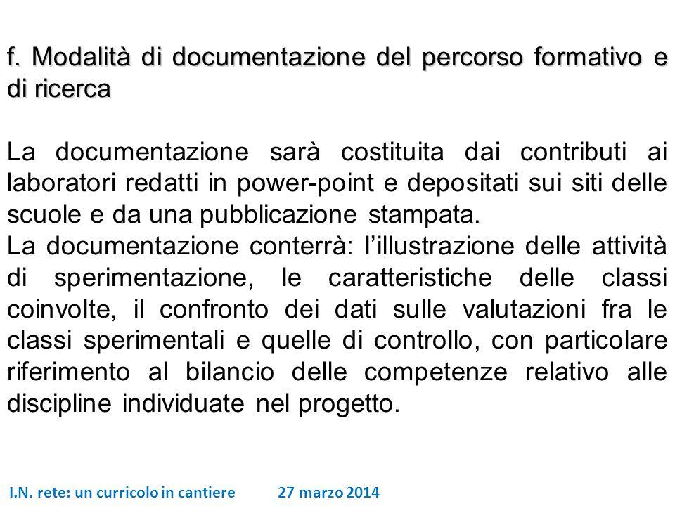 I.N. rete: un curricolo in cantiere 27 marzo 2014 f. Modalità di documentazione del percorso formativo e di ricerca La documentazione sarà costituita