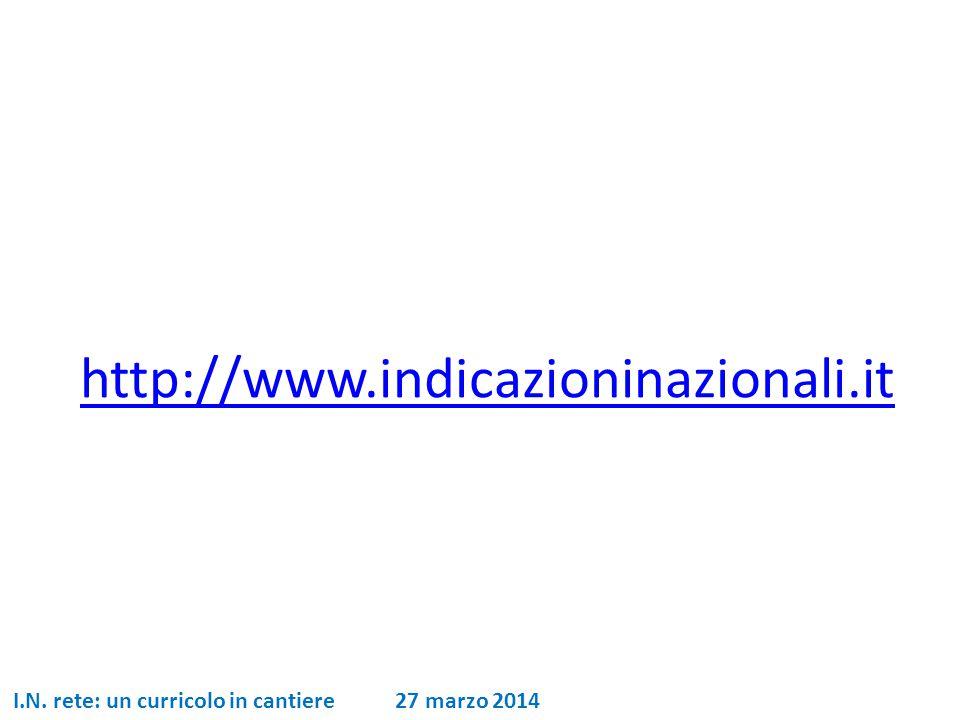 http://www.indicazioninazionali.it I.N. rete: un curricolo in cantiere 27 marzo 2014