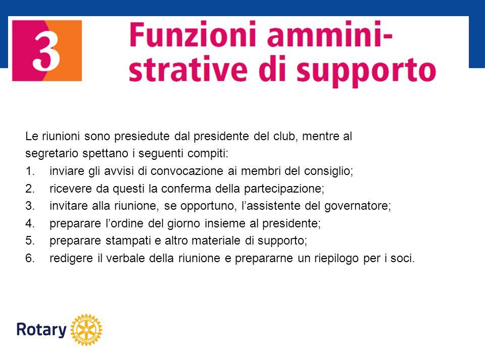 Le riunioni sono presiedute dal presidente del club, mentre al segretario spettano i seguenti compiti: 1.inviare gli avvisi di convocazione ai membri