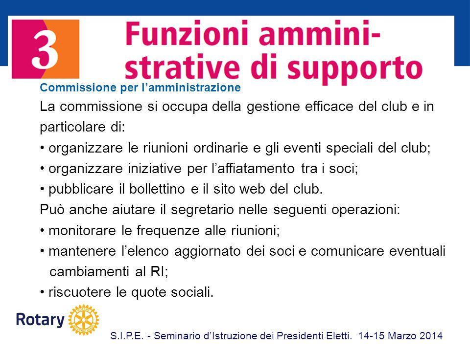 Commissione per l'amministrazione La commissione si occupa della gestione efficace del club e in particolare di: organizzare le riunioni ordinarie e g