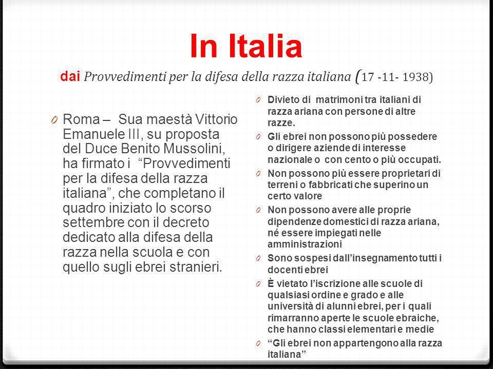 In Italia dai Provvedimenti per la difesa della razza italiana ( 17 -11- 1938) 0 Roma – Sua maestà Vittorio Emanuele III, su proposta del Duce Benito