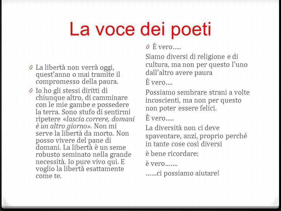 La voce dei poeti 0 La libertà non verrà oggi, quest'anno o mai tramite il compromesso della paura. 0 Io ho gli stessi diritti di chiunque altro, di c