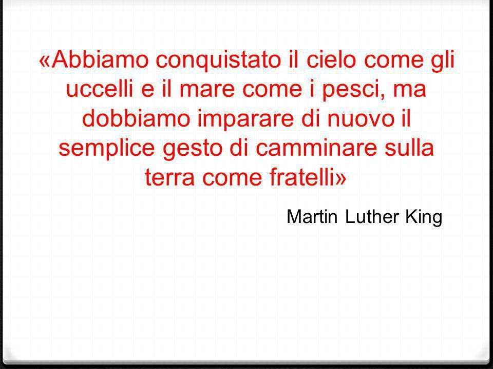 «Abbiamo conquistato il cielo come gli uccelli e il mare come i pesci, ma dobbiamo imparare di nuovo il semplice gesto di camminare sulla terra come fratelli» Martin Luther King