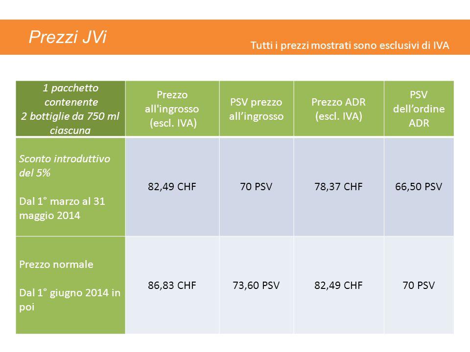 Prezzi JVi 1 pacchetto contenente 2 bottiglie da 750 ml ciascuna Prezzo all ingrosso (escl.