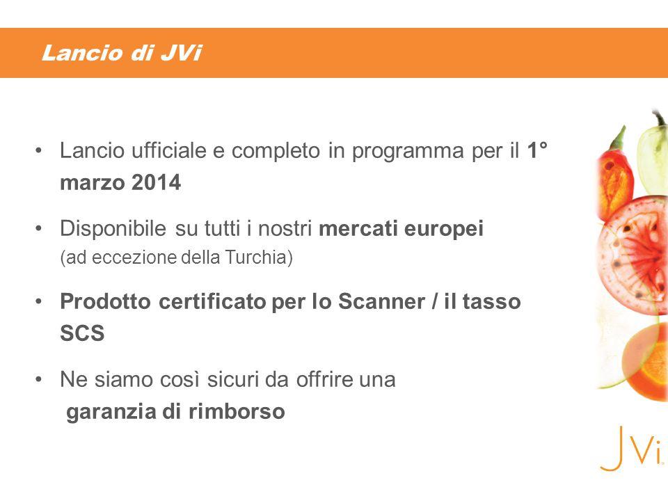 Lancio di JVi Lancio ufficiale e completo in programma per il 1° marzo 2014 Disponibile su tutti i nostri mercati europei (ad eccezione della Turchia) Prodotto certificato per lo Scanner / il tasso SCS Ne siamo così sicuri da offrire una garanzia di rimborso