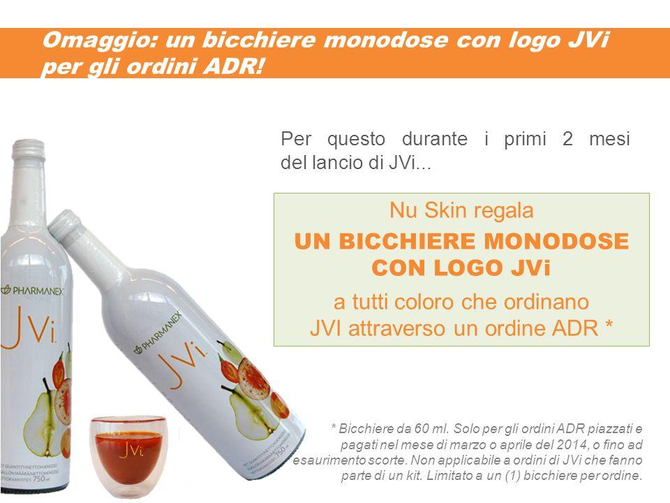 Omaggio: un bicchiere monodose con logo JVi per gli ordini ADR.
