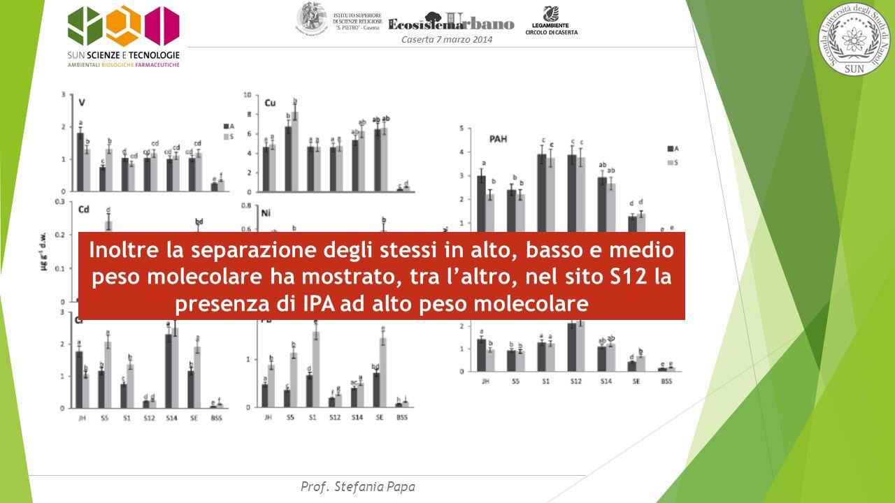 Caserta 7 marzo 2014 Inoltre la separazione degli stessi in alto, basso e medio peso molecolare ha mostrato, tra l'altro, nel sito S12 la presenza di IPA ad alto peso molecolare Prof.