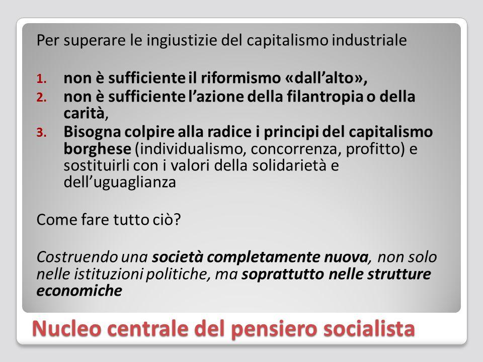 Nucleo centrale del pensiero socialista Per superare le ingiustizie del capitalismo industriale 1. non è sufficiente il riformismo «dall'alto», 2. non