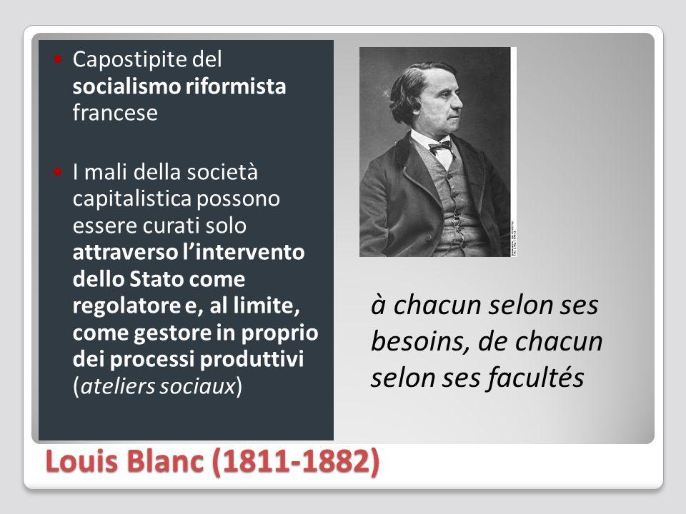 Louis Blanc (1811-1882) Capostipite del socialismo riformista francese I mali della società capitalistica possono essere curati solo attraverso l'inte