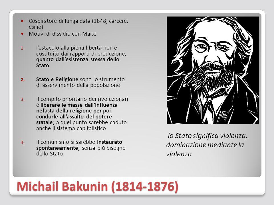 Michail Bakunin (1814-1876) Cospiratore di lunga data (1848, carcere, esilio) Motivi di dissidio con Marx: 1. l'ostacolo alla piena libertà non è cost