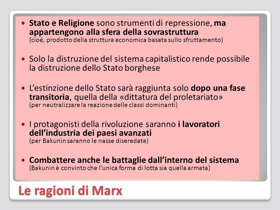 Le ragioni di Marx Stato e Religione sono strumenti di repressione, ma appartengono alla sfera della sovrastruttura (cioè, prodotto della struttura ec