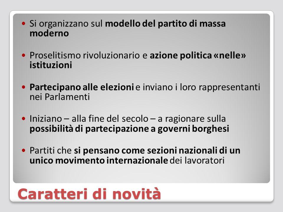 Caratteri di novità Si organizzano sul modello del partito di massa moderno Proselitismo rivoluzionario e azione politica «nelle» istituzioni Partecip
