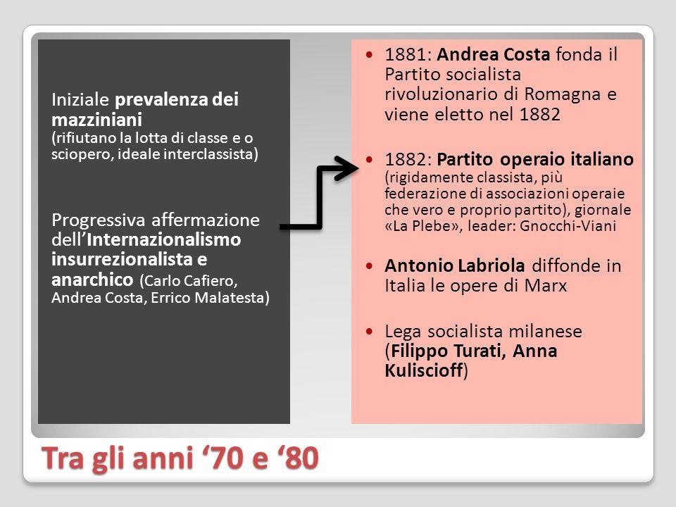 Tra gli anni '70 e '80 Iniziale prevalenza dei mazziniani (rifiutano la lotta di classe e o sciopero, ideale interclassista) Progressiva affermazione