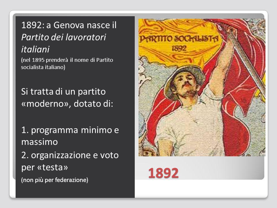 1892 1892: a Genova nasce il Partito dei lavoratori italiani (nel 1895 prenderà il nome di Partito socialista italiano) Si tratta di un partito «moderno», dotato di: 1.