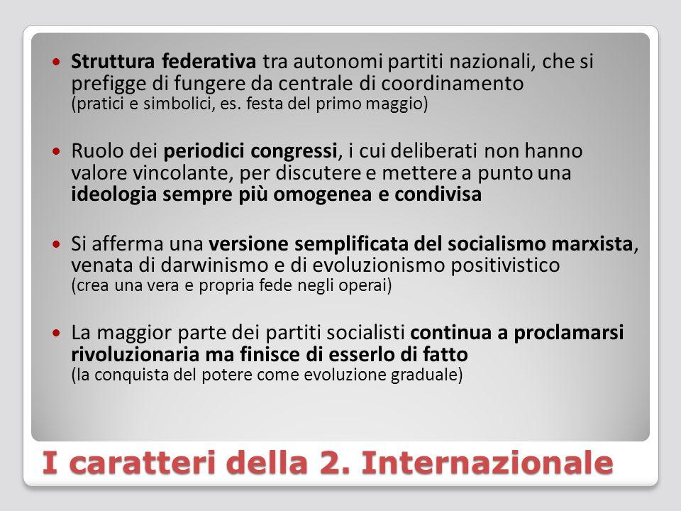 I caratteri della 2. Internazionale Struttura federativa tra autonomi partiti nazionali, che si prefigge di fungere da centrale di coordinamento (prat