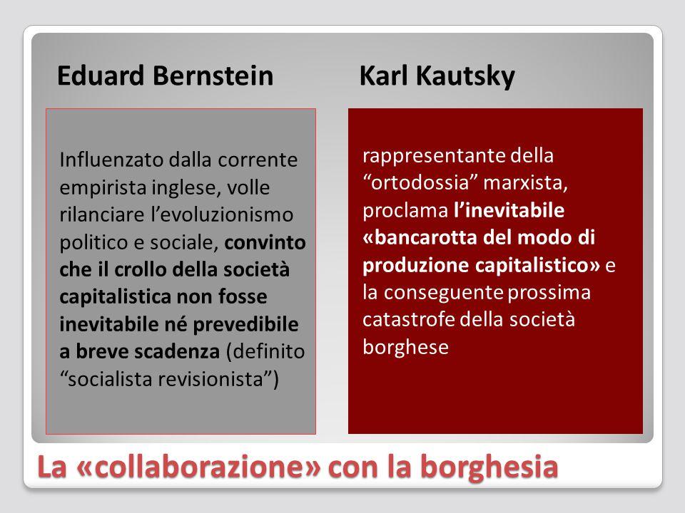 La «collaborazione» con la borghesia Eduard BernsteinKarl Kautsky Influenzato dalla corrente empirista inglese, volle rilanciare l'evoluzionismo politico e sociale, convinto che il crollo della società capitalistica non fosse inevitabile né prevedibile a breve scadenza (definito socialista revisionista ) rappresentante della ortodossia marxista, proclama l'inevitabile «bancarotta del modo di produzione capitalistico» e la conseguente prossima catastrofe della società borghese