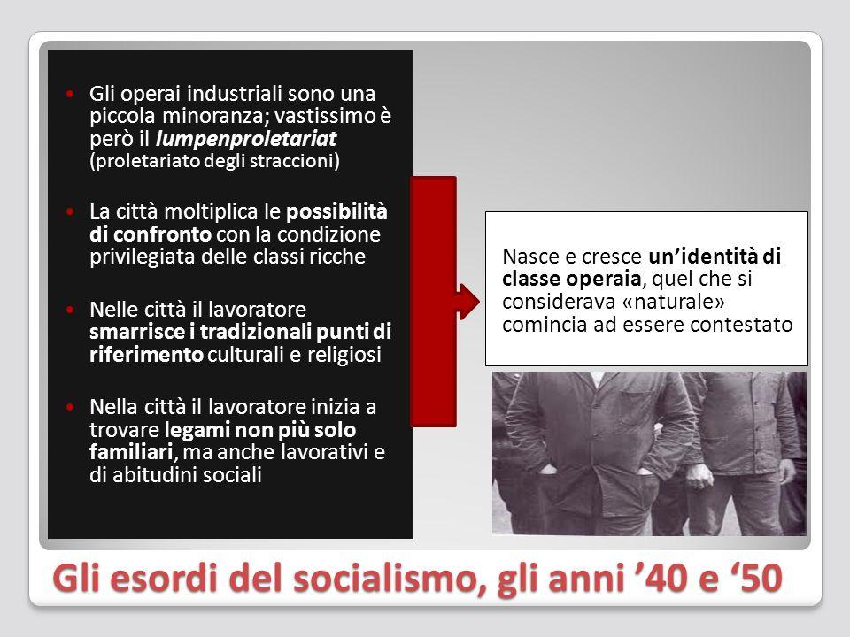 Gli esordi del socialismo, gli anni '40 e '50 Gli operai industriali sono una piccola minoranza; vastissimo è però il lumpenproletariat (proletariato