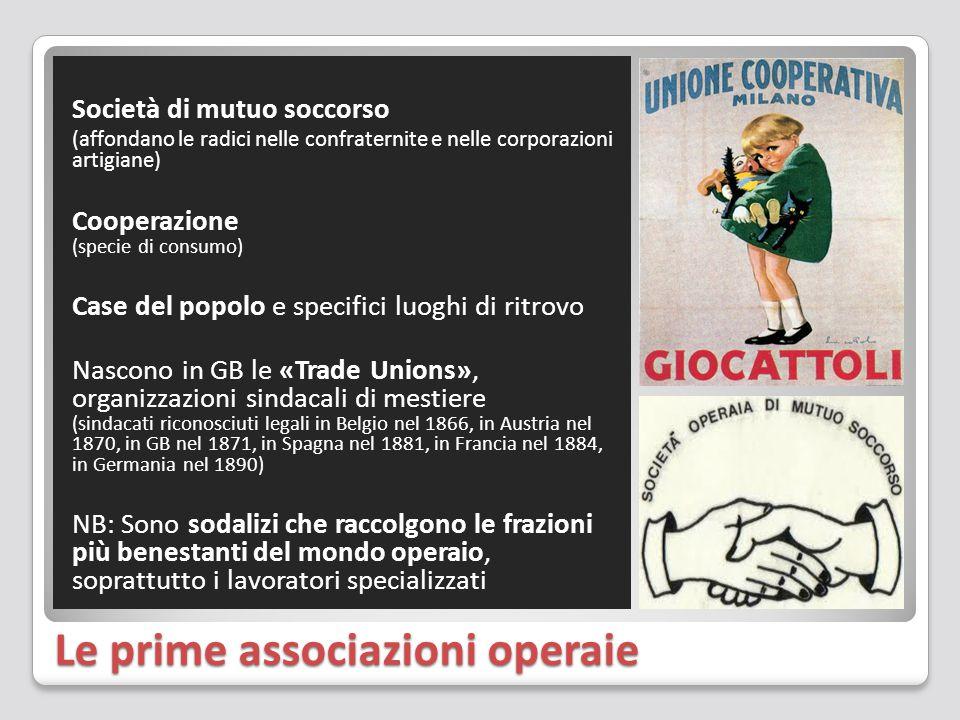 Le prime associazioni operaie Società di mutuo soccorso (affondano le radici nelle confraternite e nelle corporazioni artigiane) Cooperazione (specie