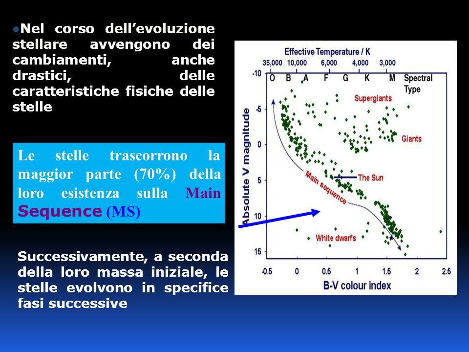 Successivamente, a seconda della loro massa iniziale, le stelle evolvono in specifice fasi successive Nel corso dell'evoluzione stellare avvengono dei cambiamenti, anche drastici, delle caratteristiche fisiche delle stelle Le stelle trascorrono la maggior parte (70%) della loro esistenza sulla Main Sequence (MS)