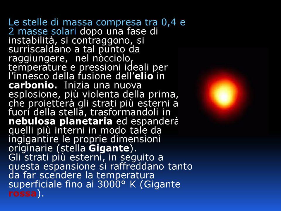 Le stelle di massa compresa tra 0,4 e 2 masse solari dopo una fase di instabilità, si contraggono, si surriscaldano a tal punto da raggiungere, nel nò