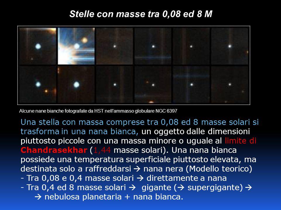 Stelle con masse tra 0,08 ed 8 M Alcune nane bianche fotografate da HST nell ammasso globulare NGC 6397 Una stella con massa comprese tra 0,08 ed 8 masse solari si trasforma in una nana bianca, un oggetto dalle dimensioni piuttosto piccole con una massa minore o uguale al limite di Chandrasekhar (1,44 masse solari).