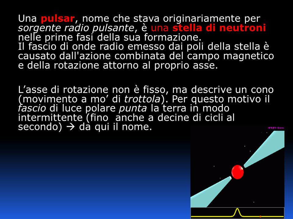 Una pulsar, nome che stava originariamente per sorgente radio pulsante, è una stella di neutroni nelle prime fasi della sua formazione. Il fascio di o