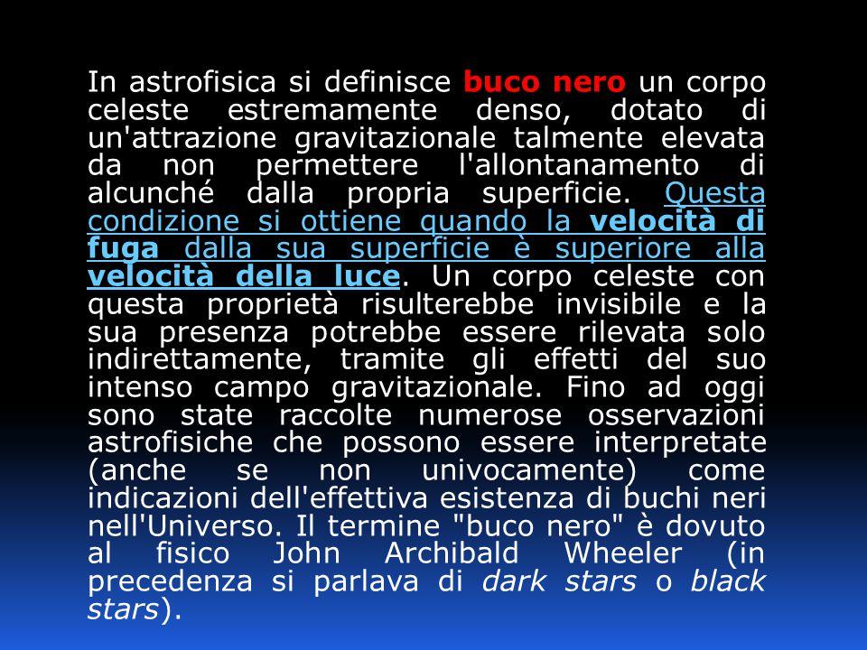 In astrofisica si definisce buco nero un corpo celeste estremamente denso, dotato di un'attrazione gravitazionale talmente elevata da non permettere l
