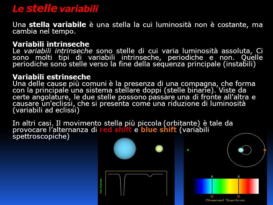 Le stelle variabili Una stella variabile è una stella la cui luminosità non è costante, ma cambia nel tempo. Variabili intrinseche Le variabili intrin