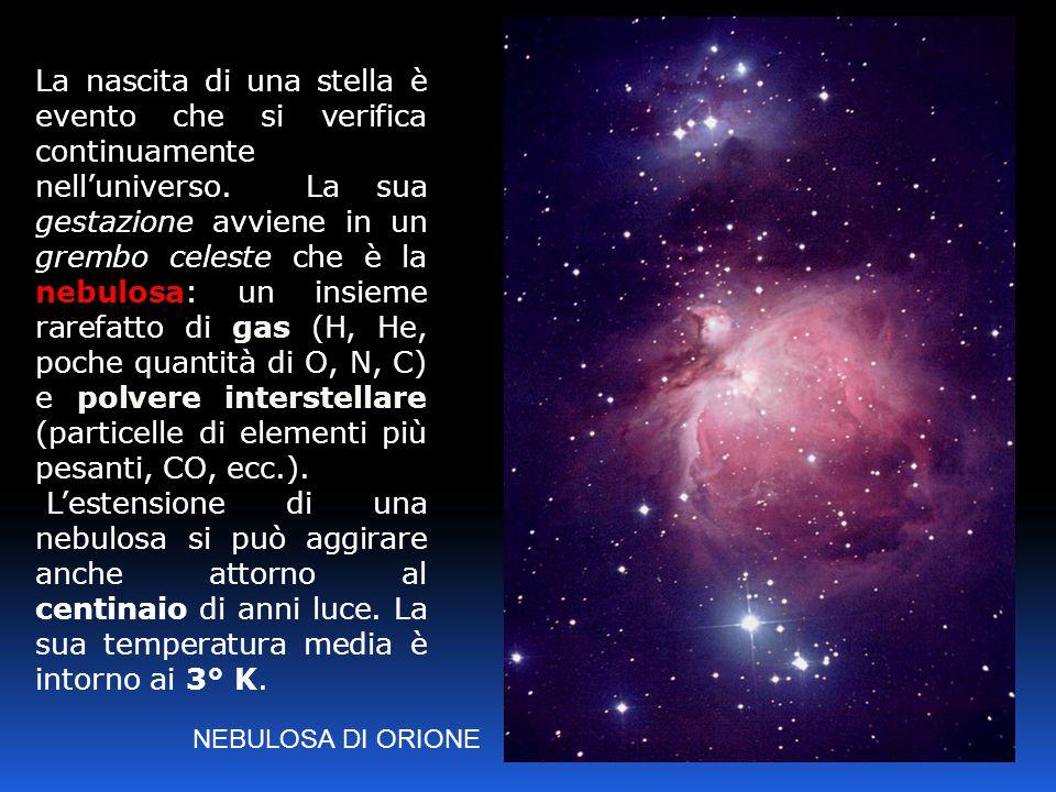 NEBULOSA DI ORIONE La nascita di una stella è evento che si verifica continuamente nell'universo. La sua gestazione avviene in un grembo celeste che è