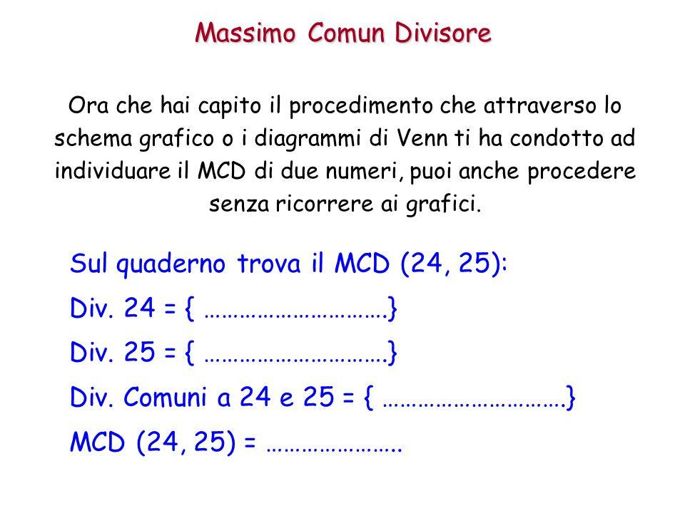 Massimo Comun Divisore Ora che hai capito il procedimento che attraverso lo schema grafico o i diagrammi di Venn ti ha condotto ad individuare il MCD