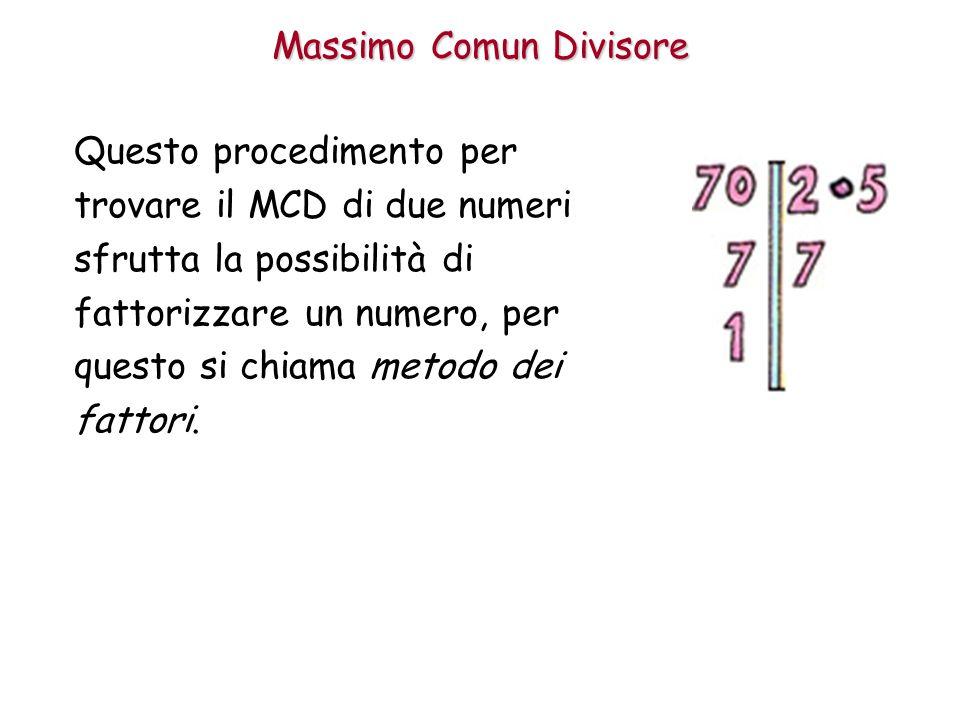 Massimo Comun Divisore Questo procedimento per trovare il MCD di due numeri sfrutta la possibilità di fattorizzare un numero, per questo si chiama met