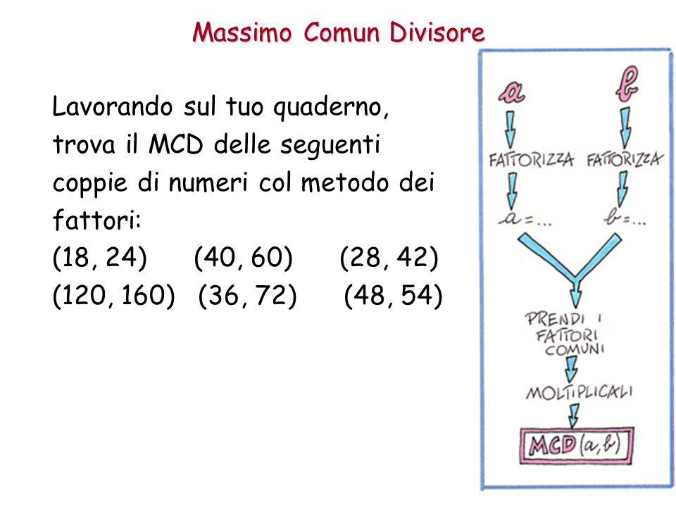 Massimo Comun Divisore Lavorando sul tuo quaderno, trova il MCD delle seguenti coppie di numeri col metodo dei fattori: (18, 24) (40, 60) (28, 42) (12