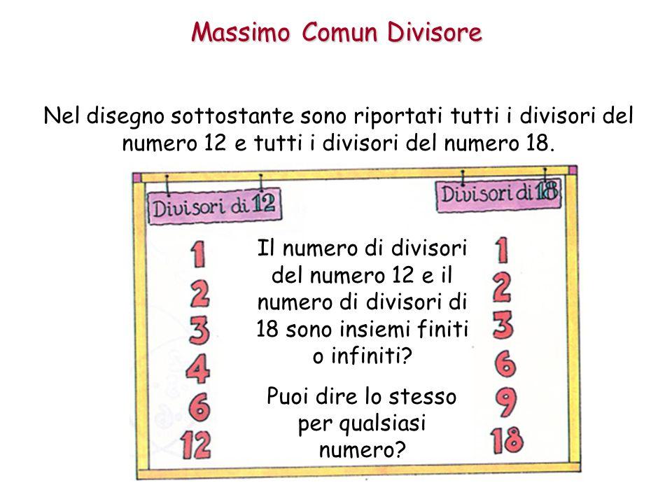 Massimo Comun Divisore Nel disegno sottostante sono riportati tutti i divisori del numero 12 e tutti i divisori del numero 18.