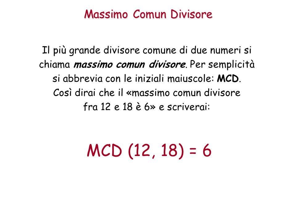 Massimo Comun Divisore Il più grande divisore comune di due numeri si chiama massimo comun divisore. Per semplicità si abbrevia con le iniziali maiusc