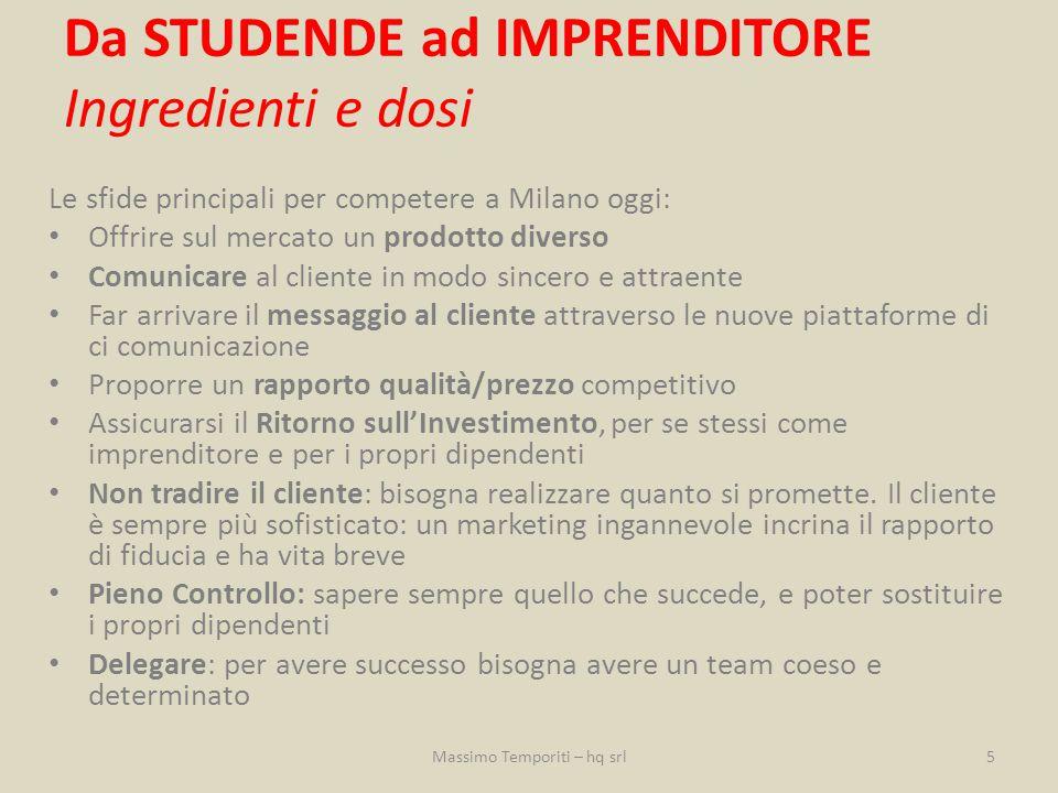 Le sfide principali per competere a Milano oggi: Offrire sul mercato un prodotto diverso Comunicare al cliente in modo sincero e attraente Far arrivar